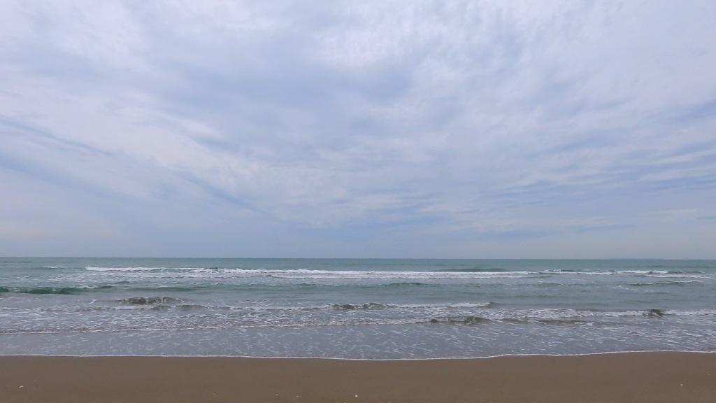 早朝の砂浜に打ち寄せる白波