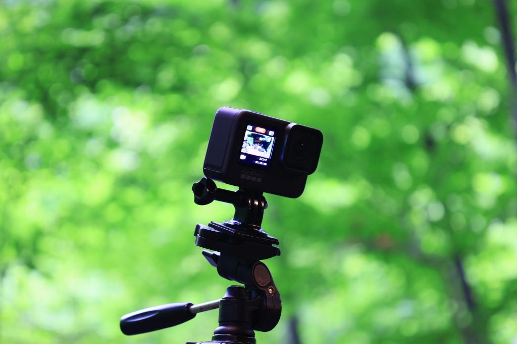 新緑の風景を撮影中のカメラ