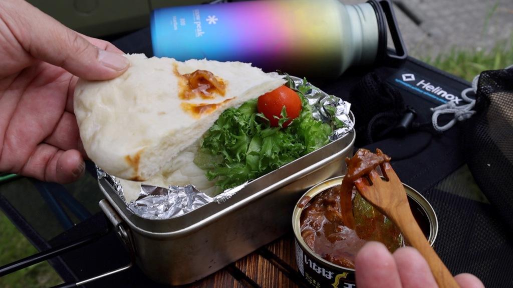 カレー缶とナンのランチ